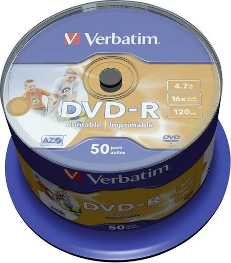 DVD-R Rohling 4.7 GB Verbatim 43533 50 St. Spindel Bedruckbar