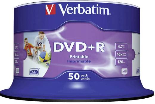 DVD+R Rohling 4.7 GB Verbatim 43512 50 St. Spindel Bedruckbar