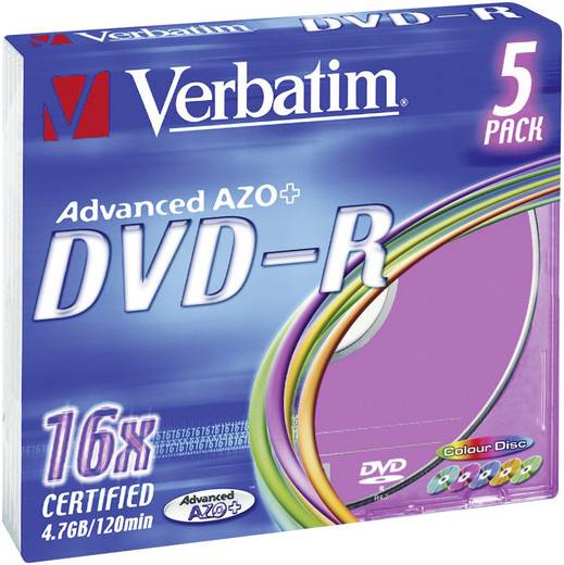 DVD-R Rohling 4.7 GB Verbatim 43557 5 St. Slimcase Farbig