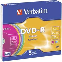 DVD-R 4.7 GB Verbatim 43557, barevný, 5 ks, Slimcase