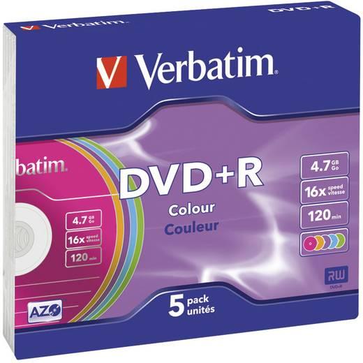 DVD+R Rohling 4.7 GB Verbatim 43556 5 St. Slimcase Farbig