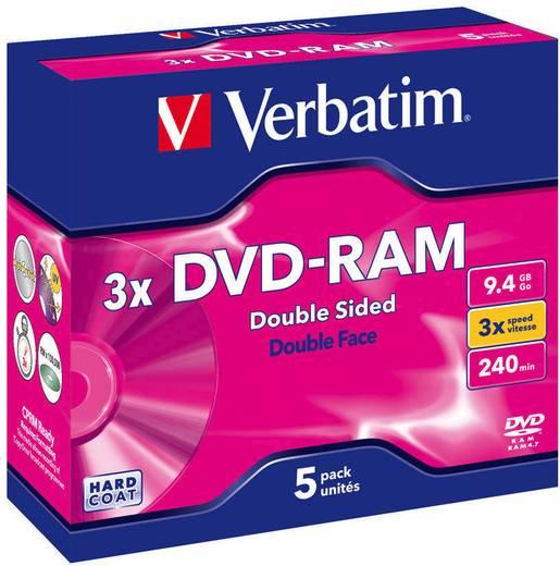 DVD-RAM Rohling 9.4 GB Verbatim 43493 5 St. Jewelcase Antikratzbeschichtung