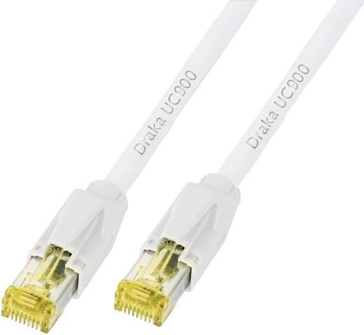 RJ45 Netzwerk Anschlusskabel CAT 6a S/FTP 0.5 m Weiß Flammwidrig, mit Rastnasenschutz DRAKA