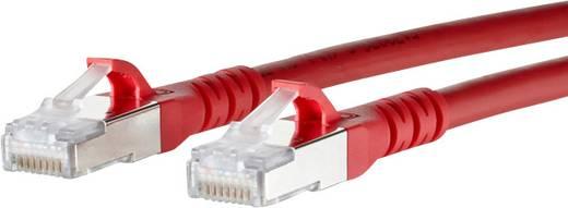 RJ45 Netzwerk Anschlusskabel CAT 6a S/FTP 1.5 m Rot mit Rastnasenschutz Metz Connect