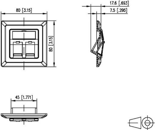 Netzwerkdose Unterputz Einsatz mit Zentralplatte und Rahmen 2 Port Metz Connect 1309151002KE Weiß