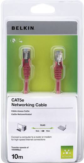 RJ45 Netzwerk Anschlusskabel CAT 5e S/FTP 10 m Rot mit Rastnasenschutz Belkin