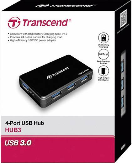 4 Port USB 3.0-Hub Transcend TS-HUB3K Schwarz
