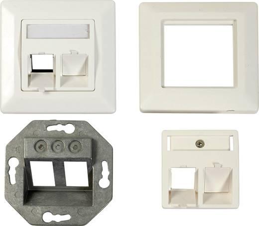 Netzwerkdose Unterputz Einsatz mit Zentralplatte und Rahmen CAT 6a 2 Port EFB Elektronik ET-25085 Reinweiß