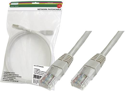 RJ45 Netzwerk Anschlusskabel CAT 6 U/UTP 20 m Grau mit Rastnasenschutz Digitus Professional