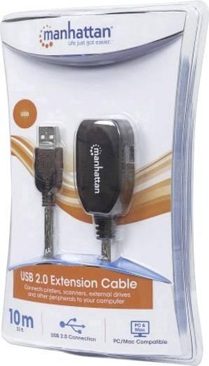 Manhattan USB 2.0 Verlängerungskabel [1x USB 2.0 Stecker A - 1x USB 2.0 Buchse A] 10 m Schwarz