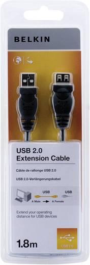 USB 2.0 Verlängerungskabel [1x USB 2.0 Stecker A - 1x USB 2.0 Buchse A] 1.80 m Schwarz UL-zertifiziert Belkin