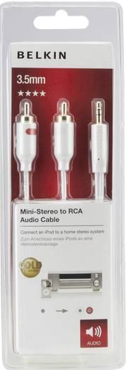 Cinch / Klinke Audio Anschlusskabel [2x Cinch-Stecker - 1x Klinkenstecker 3.5 mm] 2 m Weiß vergoldete Steckkontakte Belkin