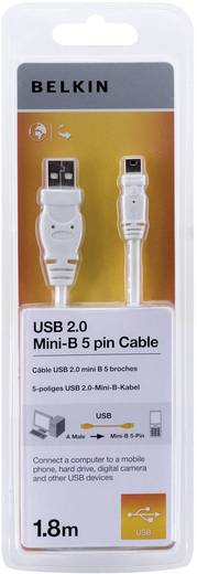 USB 2.0 Anschlusskabel [1x USB 2.0 Stecker A - 1x USB 2.0 Stecker Mini-B] 1.8 m Weiß vergoldete Steckkontakte, UL-zertif