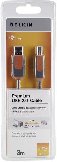 Belkin USB 2.0 Anschlusskabel [1x USB 2.0 Stecker A - 1x USB 2.0 Stecker B] 3 m Grau vergoldete Steckkontakte, UL-zertif