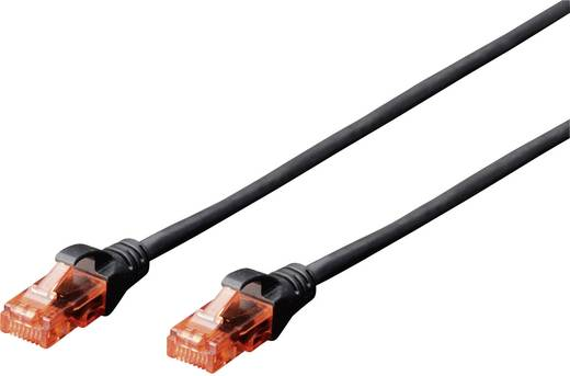RJ45 Netzwerk Anschlusskabel CAT 6 U/UTP 10 m Schwarz UL-zertifiziert, mit Rastnasenschutz Digitus Professional