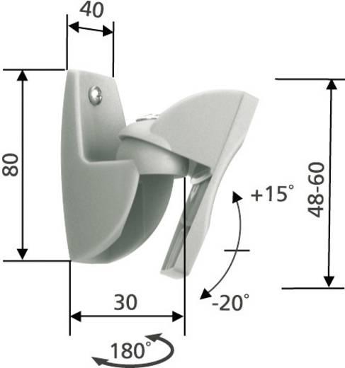 Lautsprecher-Wandhalterung Neigbar, Schwenkbar Wandabstand (max.): 3 cm 1 Paar Vogel´s VLB 500 Silber