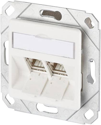 Netzwerkdose Unterputz Einsatz mit Zentralplatte CAT 6a 2 Port Metz Connect Reinweiß