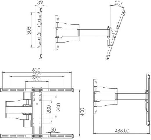 """TV-Wandhalterung 66,0 cm (26"""") - 139,7 cm (55"""") Neigbar+Schwenkbar VCM Morgenthaler WS 100 SLIM"""