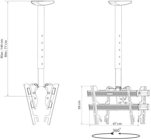 """TV-Deckenhalterung 61,0 cm (24"""") - 94,0 cm (37"""") Neigbar+Schwenkbar VCM Morgenthaler TDH 3 DOUBLE"""