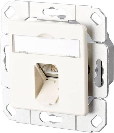 Netzwerkdose Unterputz Einsatz mit Zentralplatte CAT 6a 1 Port Metz Connect Perl-Weiß