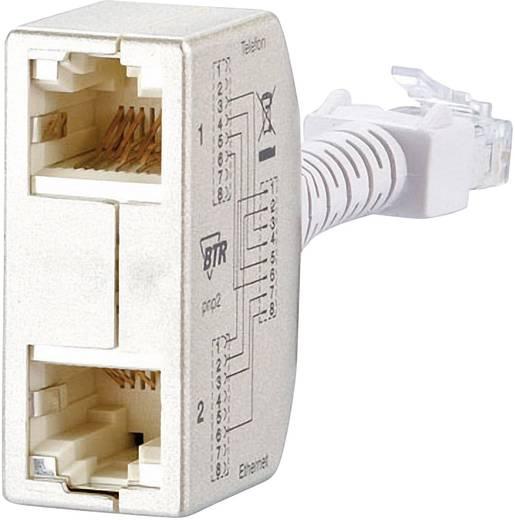 RJ45 Netzwerk Y-Adapter CAT 5 [2x RJ45-Buchse - 1x RJ45-Stecker] 0 m Silber Metz Connect