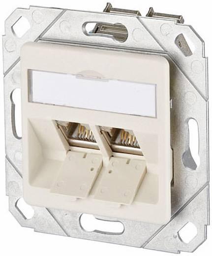 Netzwerkdose Unterputz Einsatz mit Zentralplatte CAT 6 2 Port Metz Connect Perl-Weiß