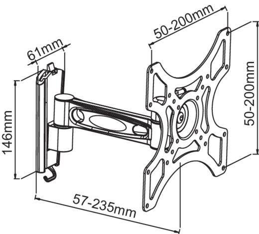 """Monitor-Wandhalterung 58,4 cm (23"""") - 106,7 cm (42"""") Neigbar+Schwenkbar Manhattan Ausziehbar, Integrierte Wasserwaage"""