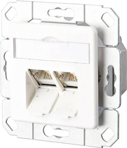 Netzwerkdose Unterputz Einsatz mit Zentralplatte CAT 6 2 Port Metz Connect Reinweiß
