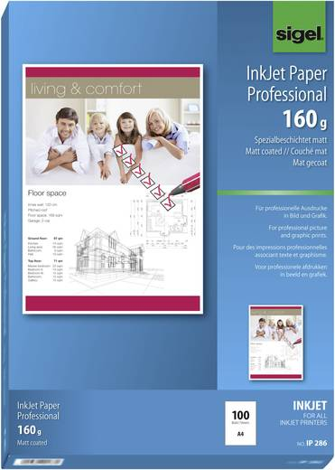 Tintenstrahl Druckerpapier Sigel Inkjet Paper Professional IP286 DIN A4 160 g/m² 100 Blatt Hoch-Weiß