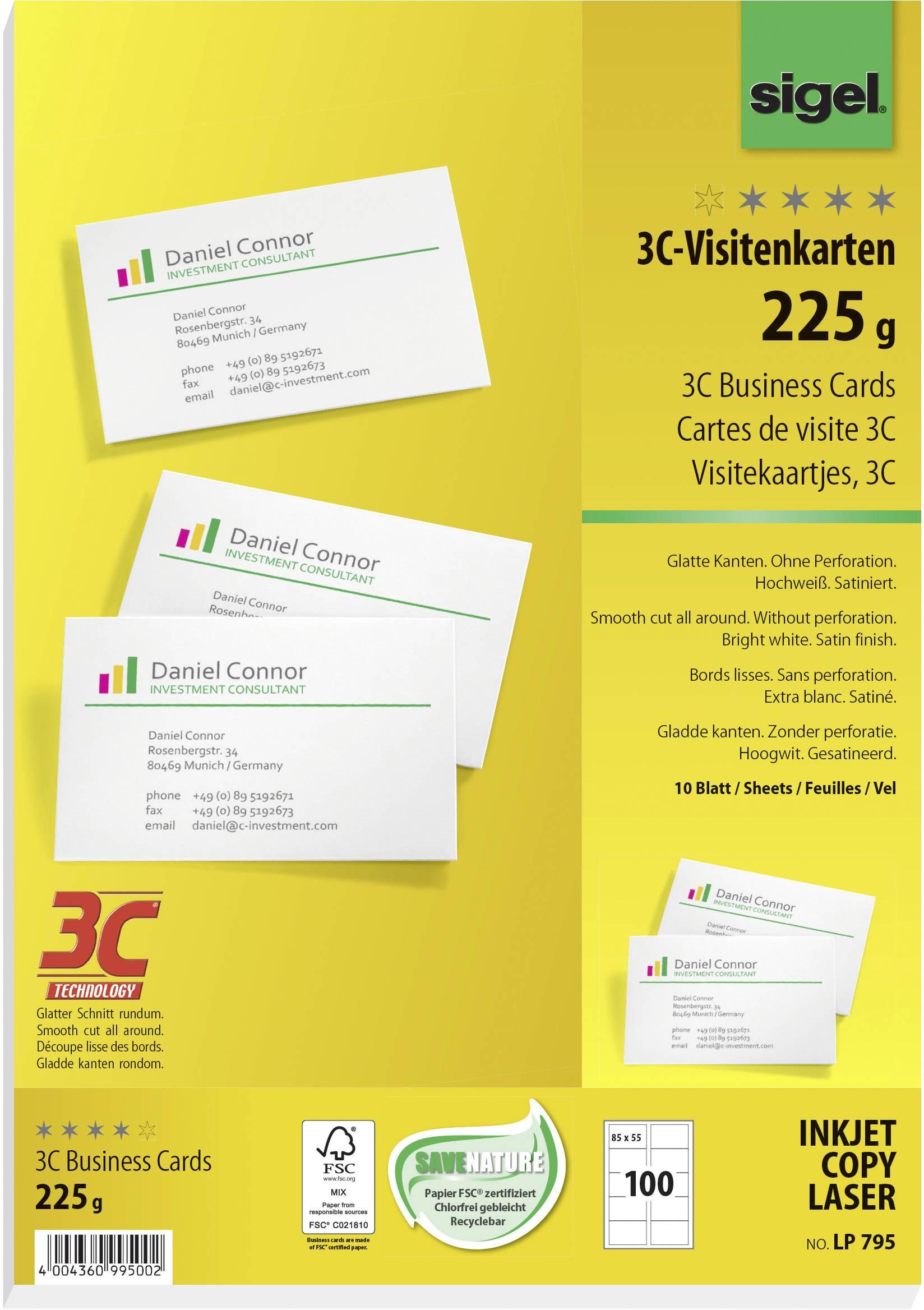 Sigel Lp795 Bedruckbare Visitenkarten Glatte Kanten 85 X 55 Mm Hochweiß 100 St Papierformat Din A4