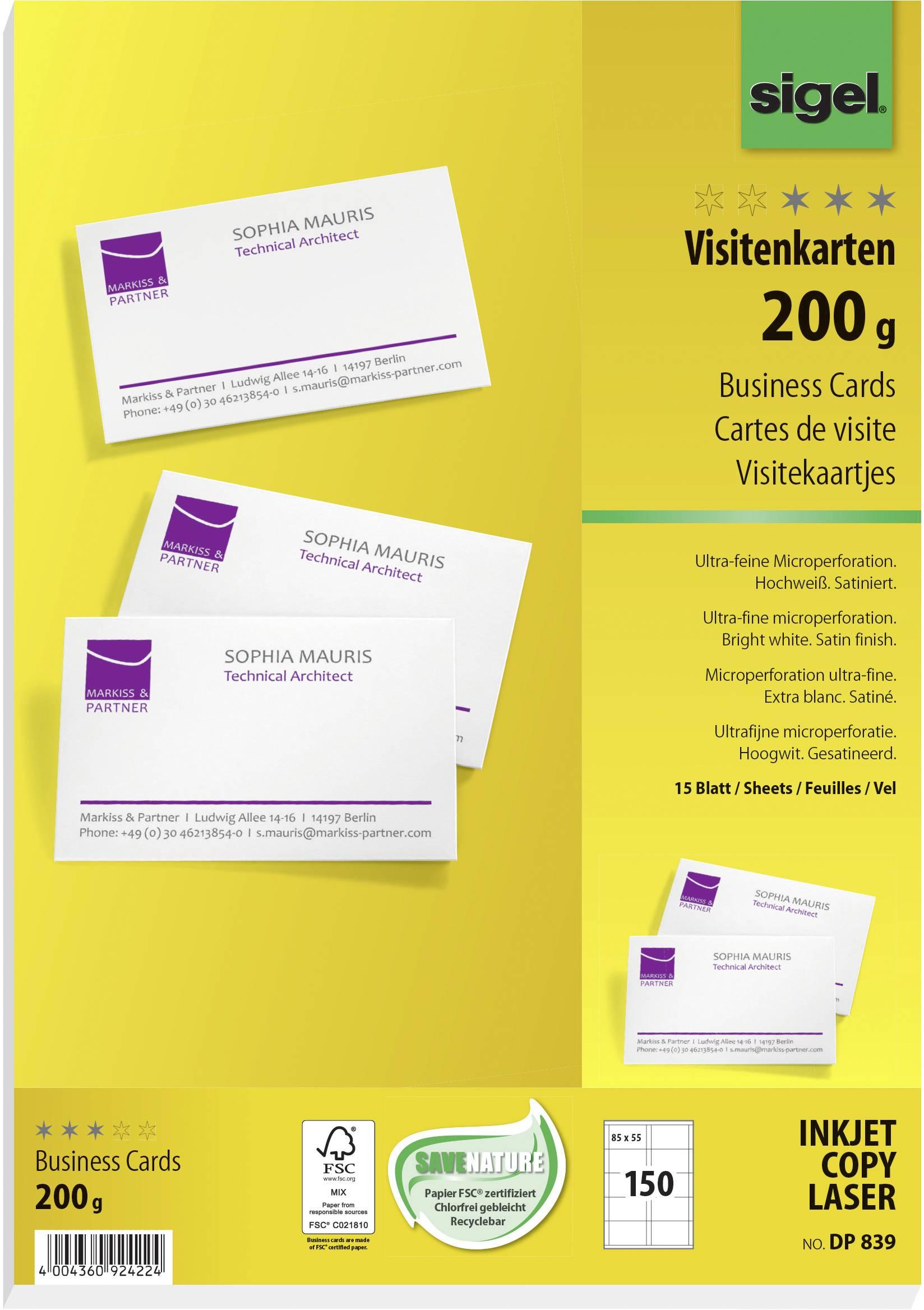 Sigel Dp839 Bedruckbare Visitenkarten Microperforiert 85 X 55 Mm Hochweiß 150 St Papierformat Din A4