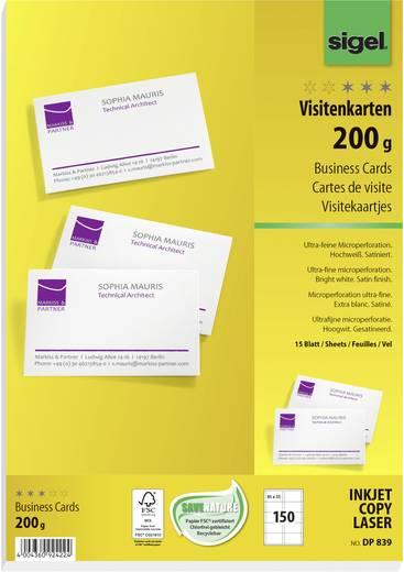 Sigel Bedruckbare Visitenkarten, microperforiert DP839 85 x 55 mm Hoch-Weiß 200 g/m² 150 St. Papierformat: DIN A4
