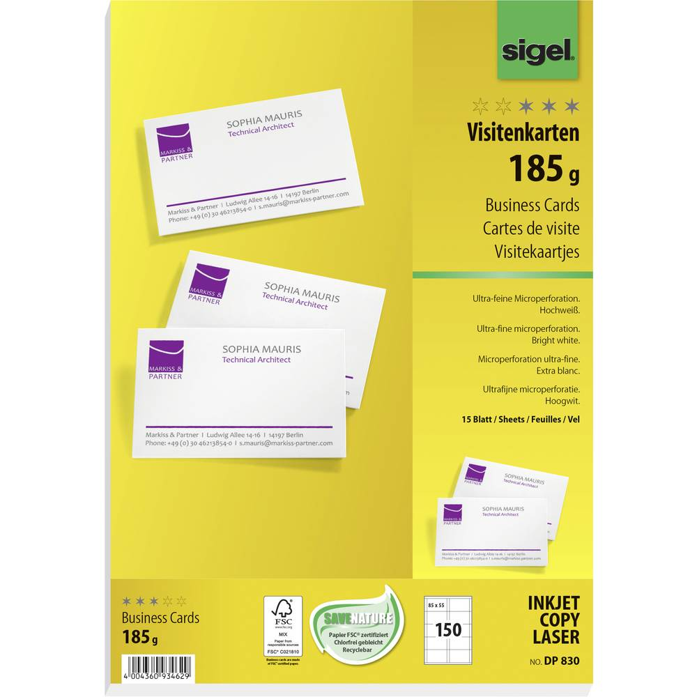 Printable business cards (micro-perforated) Sigel DP830 85 x 55 mm ...