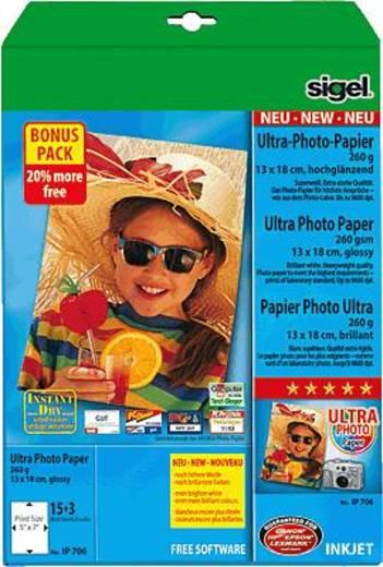Fotopapier Sigel Photo Paper Ultra IP706 13 x 18 cm 260 g/m² 18 Blatt Hochglänzend