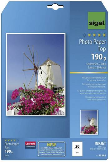 Fotopapier Sigel Photo Paper Top IP684 DIN A4 190 g/m² 20 Blatt Seidenmatt