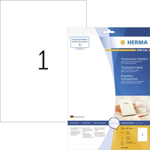 Herma 8964 Etiketten (A4) 210 x 297 mm Folie Transparent 10 St. Permanent Universal-Etiketten