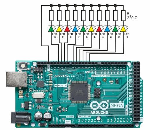 Anschluss der LEDs am Arduino-Board