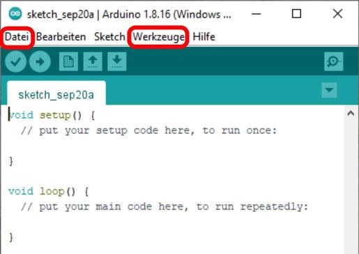 Arduino IDE Startbildschirm