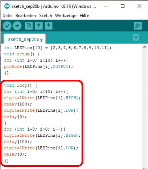 Arduino IDE Loop-Bereich