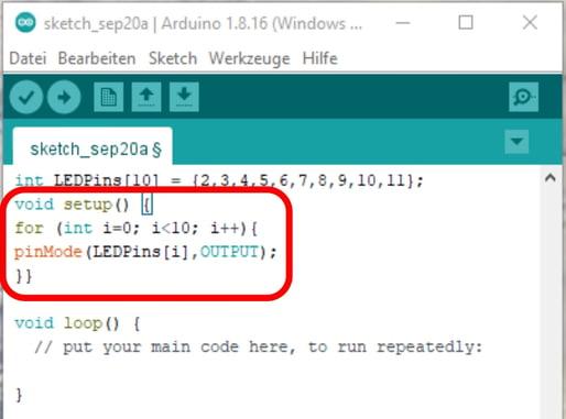 Arduino IDE Setup-Bereich