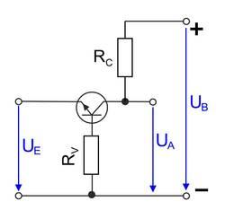 Basisschaltung eines Transistors