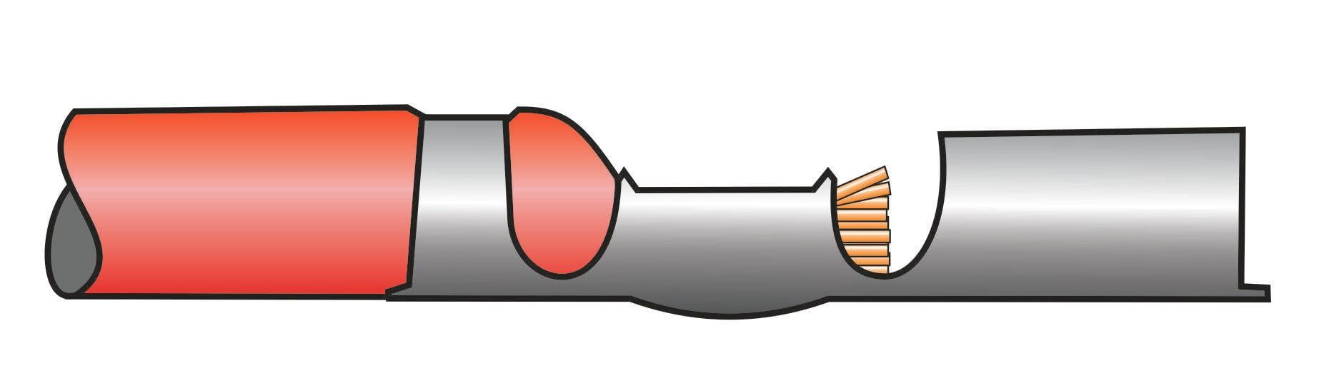 Crimpverbindung mit zu kurzer Abisolierung
