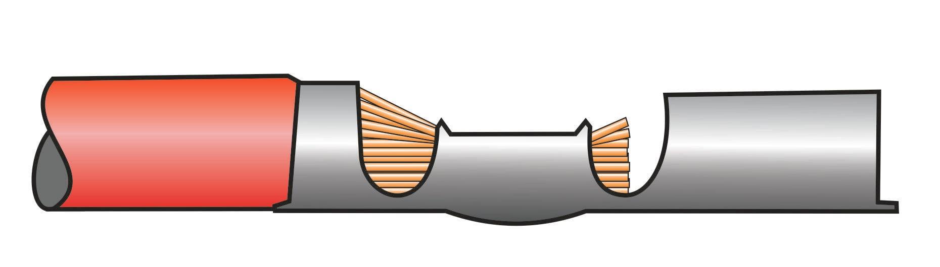 Crimpverbindung mit zu langer Abisolierung