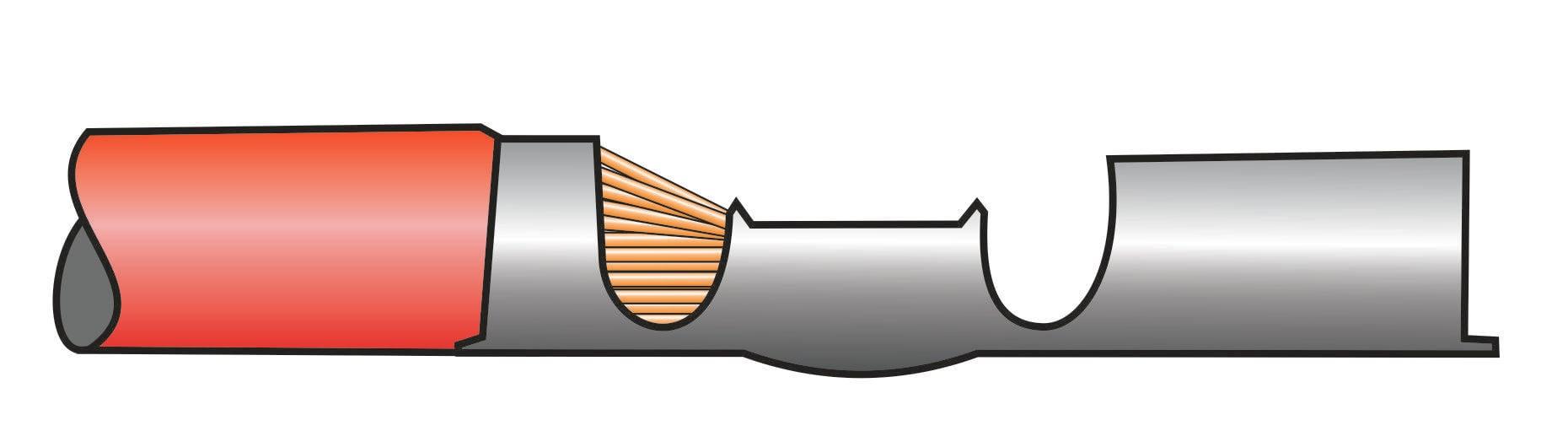 Crimpverbindung mit nicht tief genug eingeschobenem Kabel
