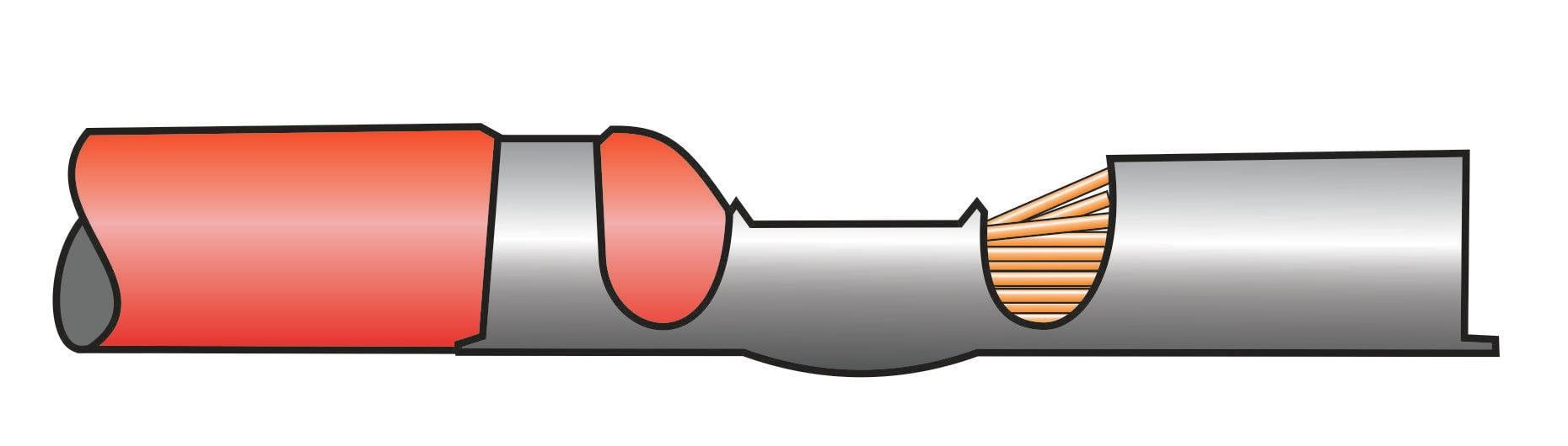 Crimpverbindung mit zu tief eingeschobenem Kabel