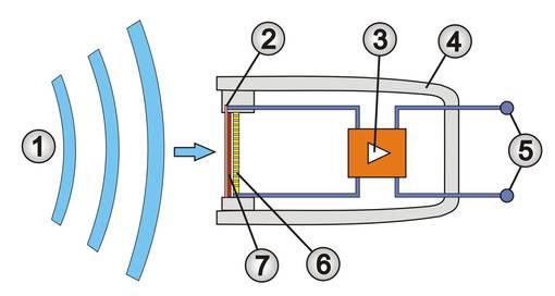 Schematische Darstellung eines Elektret-Kondensatormikrofons