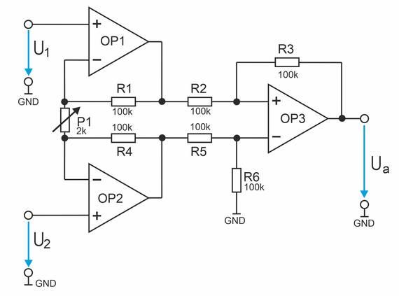 Instrumentenverstärker mit drei Operationsverstärkern