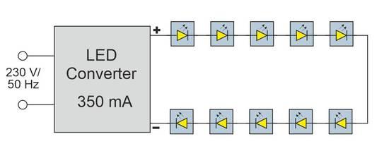 Serieller Anschluss von High Power LEDs