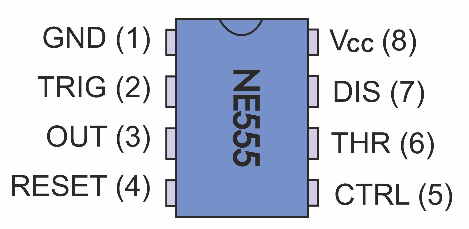 NE555 im 8poligen DIP-Gehäuse