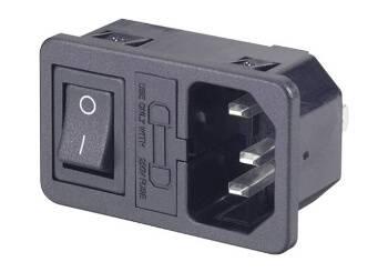 Kaltgeräte Einbaustecker mit Schalter